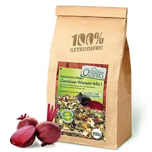 Original-Leckerlies Gemüse-Wiesen-Mix I 500g, Premium Qualität*** – getreidefrei – Kaninchenfutter, Nagerfutter, Meerschweinchenfutter, 100% Naturprodukt für Nager mit Gemüse und Kräutern