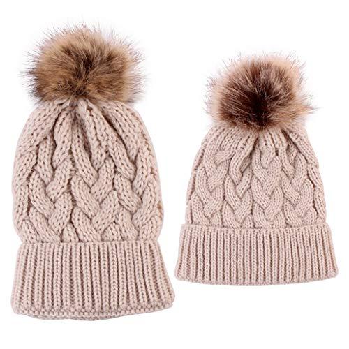 Lamdoo 2 Piece Mutter Kind Kind Hüte Warme Winter Strickmütze Caps Mama Baby Häkeln Mützen - Khaki -