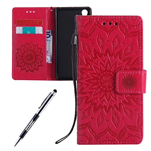 Xperia X Performance Leder Butterfly Hülle,Xperia X Performance Lanyard Wallet Schutzhülle,JAWSEU Stylish Elegante Sonnenblume Retro/Vintage Strap Muster Pu Leather Flip Brieftasche Etui Taschen Magne Flower,Rot