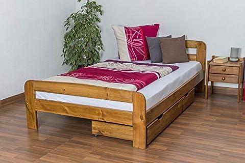 Lit simple / d'ami bois du pin massif en couleur de chêne A6, incl. sommier à lattes - Dimensions : 120 x 200 cm