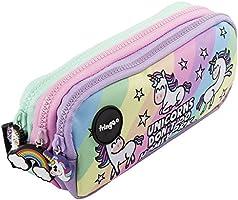 Estuche para lápices de 3 compartimentos FRINGOO, para niños, divertido y bonito, color Unicorns & Homework - 3...