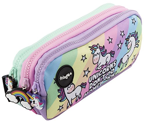 Estuche para lápices de 3 compartimentos FRINGOO, para niños, divertido y bonito, color Unicorns & Homework - 3 Compartments Large