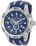 Joshua & Sons Chronograph Rugged Power JS50BU für Herren, blaues Zifferblatt, silberfarbenes Gehäuse und Silikon-Band