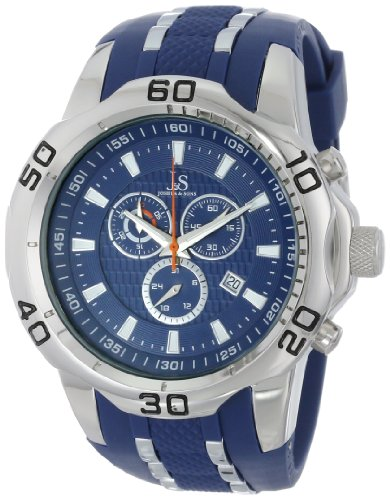 Joshua & Sons Men's Rugged Power Chronograph Watch with Blue Dial, Silver-Tone Case and Silicone Strap JS50BU