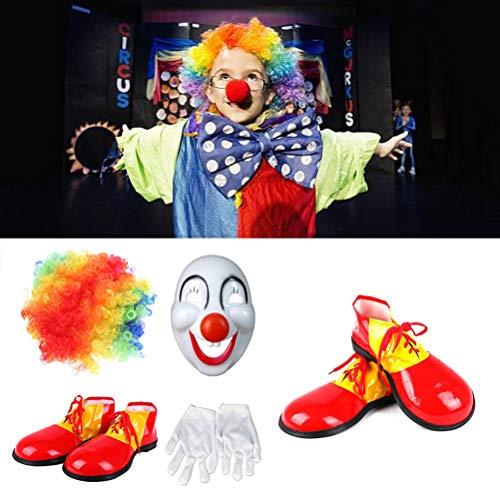 Amosfun 4pcs Make -up Clown Kostüm Sets Funny Clown Kostüme Performance Costume for Man Woman (Lady Aviator Kostüm)