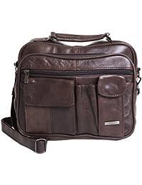 Lorenz Men's Unisex Brown Leather Travel Multi Pocket Bag