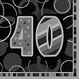 Unique Party 28481 Tovaglioli di Carta 40° Compleanno, Confezione da 16, Nero Brillante