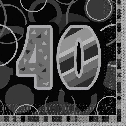 16 Papier Servietten 40. Geburtstag grau-schwarz (Geburtstag Feier Ideen 40th)