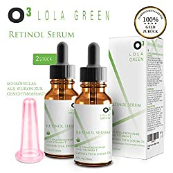 O³ Retinol Serum hochdosiert testsieger 2,5% // 2 Flaschen + Cellulite-Saugglocke // Mit Hyaluronsäure + Vitamin E // Optimale Faltenbekämpfung – Anti Aging face cream // Gesichtsserum Frauen Männer