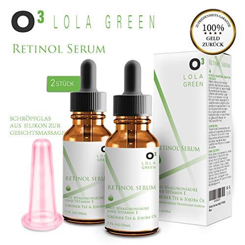O³ Retinol Serum hochdosiert testsieger 2,5% // 2 Flaschen + Cellulite-Saugglocke // Mit...