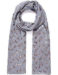 Grey Shimmer Metallic Unicorn Scarf Ladies Fashion Scarves