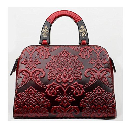 Keshi Leder Cool Damen Handtaschen, Hobo-Bags, Schultertaschen, Beutel, Beuteltaschen, Trend-Bags, Velours, Veloursleder, Wildleder, Tasche Rot 1