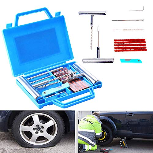 Kit di attrezzi per la riparazione pneumatici, cassetta degli attrezzi per autocarri pneumatici forati e piatti per moto, ATV, jeep, camion, trattori Riparazione di pneumatici per pneumatici
