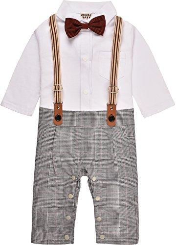 ZOEREA Neonato Bimbo Tuta Gentleman Outfit Bretelle Neonati Pagliaccetto Manica Lunga Cotone 3-18 mesi
