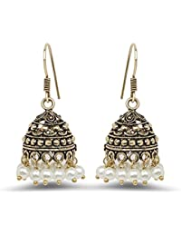 Johareez White Pearl Oxidised Gold Plated Jhumki Earrings For Women