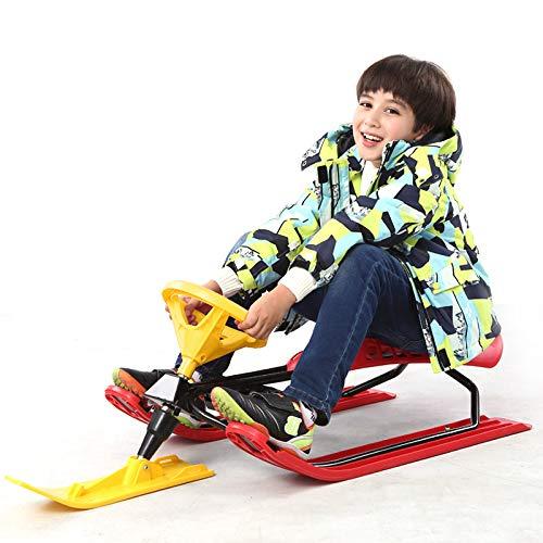 Guoyajf Slitta da Sci con Freni, Slitta in plastica da Corsa, Slitta per Bambini in Pendenza per Bambini dai 6 Anni in su,Red