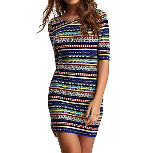 Amuse-MIUMIU Women Bodycon Dresses,Women Polyester Multicolored Half Sleeve Sexy Stripe Dress Casual Splice Round Neck Bodycon Knee Long Dresses for Ladies Pencil Dress -