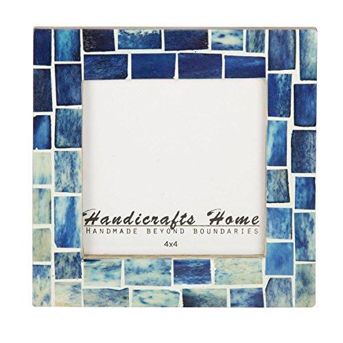 Handicrafts Home Indigo Mosaic Photo Frame Bone Handmade Picture Frames Size 4x4