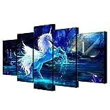 ZYBKOG Leinwandbild 5 Moderne Wandkunst Rahmen Leinwand Hd Drucke Bilder 5 Stück Einhorn Pferd Malerei Abstrakte Pegasus Poster
