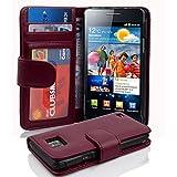 Cadorabo - Funda Samsung Galaxy S2 / S2 PLUS (I9100) Book Style de Cuero Sintético en Diseño Libro - Etui Case Cover Carcasa Caja Protección con Tarjetero en BURDEOS-VIOLETA