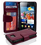 Cadorabo Hülle kompatibel mit Samsung Galaxy S2 / S2 PLUS Hülle in BORDEAUX LILA Handyhülle mit 3 Kartenfächern Case Cover Schutzhülle Etui Tasche Book