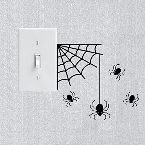 wandaufkleber 3d schlafzimmer Wall Sticker Quote Wall Decal Funny Wallpaper Removable Vinyl Halloween Party Scary Spiders Light Switch Sticker