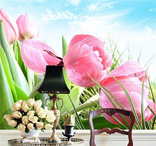 Fotomurali Elegante Tulipano Rosa Foto Wallpaper 3D Flower Adesivo Murale Personalizzato Scenario Naturale Wallpaper Design Your Wall Camera Da Letto Kid Room Decor-400X280Cm,Carta da parati