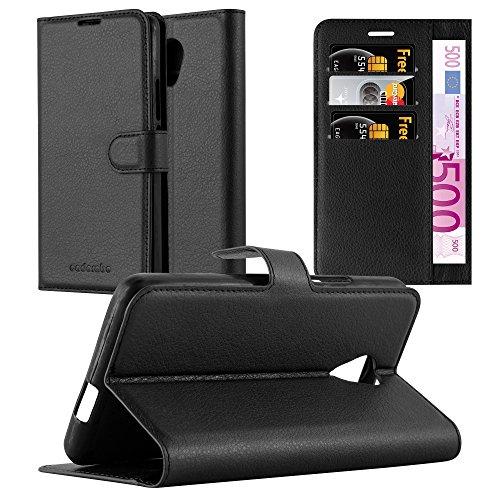Cadorabo Hülle für Wiko Robby - Hülle in Phantom SCHWARZ – Handyhülle mit Kartenfach und Standfunktion - Case Cover Schutzhülle Etui Tasche Book Klapp Style