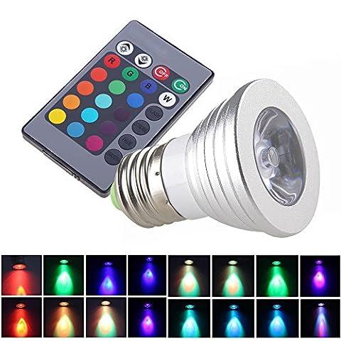 Szfc RGB ampoules LED E273W AC85–265V 16changent de couleur avec télécommande 24touches contrôleur