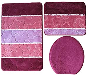 3 Pièces meubles de salle de bains, bordeaux lilas rose à rayures 80 x 50 cm (ensemble de bain tapis de bain tapis de bain wC suspendu