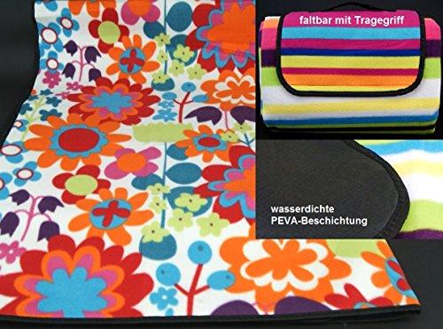 fashion and joy Picknickdecke Campingdecke Strandmatte Blumen bunt 200x200 cm XL Isomatte wasserdicht Outdoor Garten Decke mit Griff zu Tasche faltbar Pärchendecke Typ356 -
