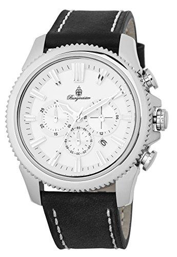 Burgmeister Herren Chronograph Quarz Uhr mit Leder Armband BMT03-182
