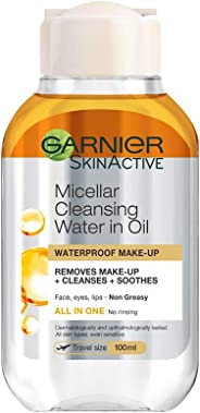 Garnier Micellar Water Face Eyes Lips Argan Oil  cleanser and Waterproof Make-up Remover Travel Size, 100ml