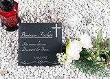 CHRISCK design Grabplatte/Grabstein mit Foto und Text-Gravur aus Hochglanz Acrylglas/Gedenktafel ab 20x20 cm Individuell Gestalten/Gedenkplatte als Andenken an die Liebsten (20x20 cm Textgravur)