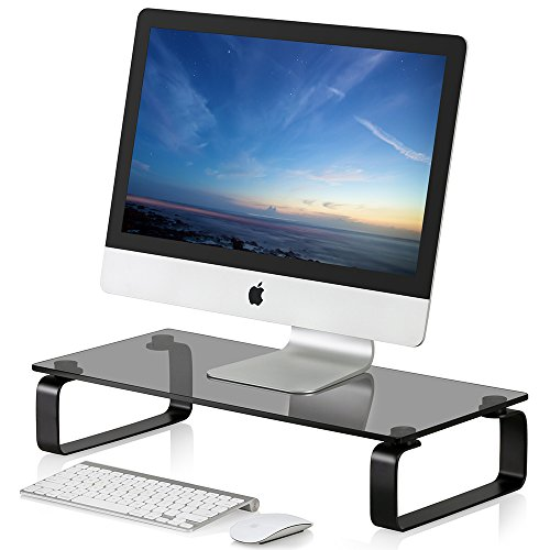 Fitueyes Glass Monitor Stand Screen Riser for Computer Laptop TV PC W 60 x D 28 x H 12 cm grey DT106005GBUK