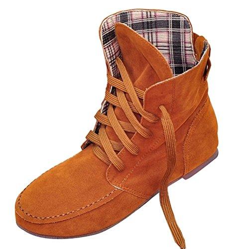 Minetom Femmes Automne Hiver Bottes de Neige Cheville Chaudes Fourrure Laçage Chaussures Plates Bottines À Lacets Chameau Plaid