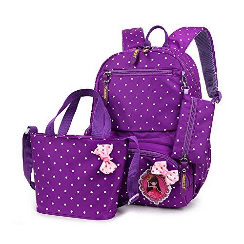 FRISTONE Set von 3 Mädchen Niedliche Polka Punkt BuchTasche/Schultaschen/Rucksäcke/Schulrucksäcke/Kinderbuchtasche Mädchen Teenager + Handtasche + Federmäppchen,violett Polka Set