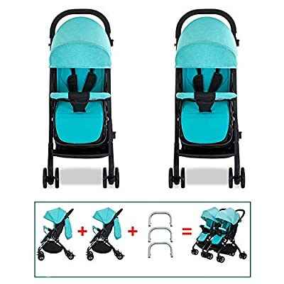 XYL Silla de Paseo Plegable Doble para niño/niño/bebé con una combinación de Canasta de Almacenamiento Grande Arnés de Cinco Puntos Tragaluz Grande Cochecito cómodo