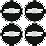 TEILE-24.EU Malinowski Radnabenkappen CHEVROLET Embleme Felgen Aufkleber Logo Nabendeckel Nabenkappe Radkappe 4 x 56 mm .Farbe: schwarz/chrom