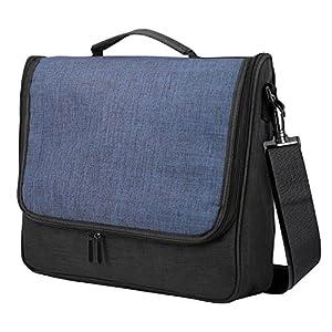 MoKo Kompatibel mit Nintendo Switch Tasche, Große Kapazität Reisen Tragbare Schultertasche Messenger Tasche Schutzhülle für Switch Konsole Kontroller Gamepad Ladegerät Kabel – Schwarz/Blau