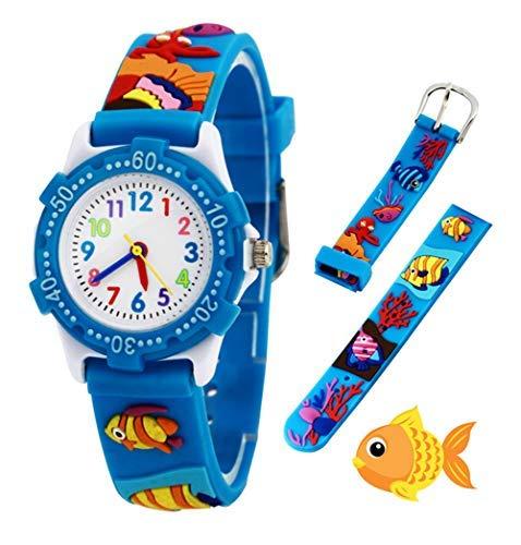 Kinder Analog Armbanduhr, Tägliche Wasserdicht Mädchen Jungen Zeit Lehrer Uhr Kinderspielzeug mit 3D Karton Silikonband für Kleine Kleinkinder Geburtstag/Xmas RSVOM (Fish)