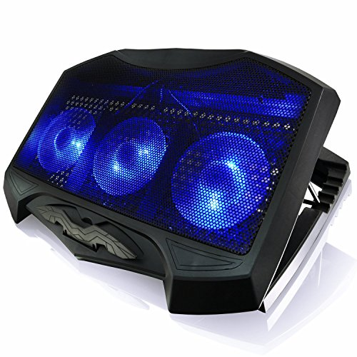 AAB Cooling NC87 - Notebookständer mit 3 Lüftern, Einstellbare Neigung und Blau LED   Laptop Cooling   Laptop Schoßtablett   Laptopständer bis 17 Zoll und PS4 PRO / XBOX Consolen   Laptop Auflage