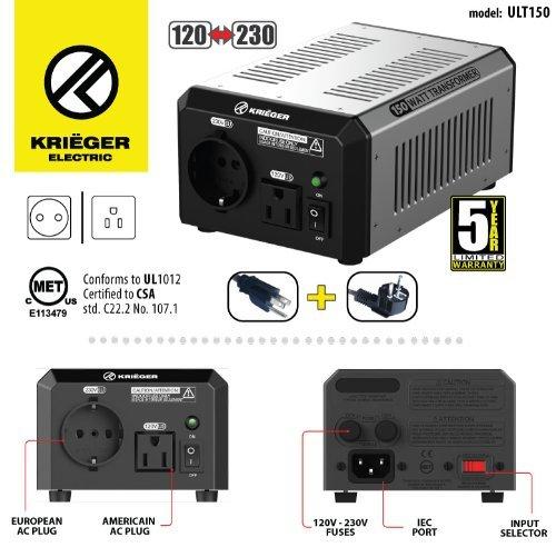 KRIEGER 150 Watt Spannungswandler 110/120V - 220/230V mit CE/UL/CSA Zulassung (Typ Transformator Stecker)