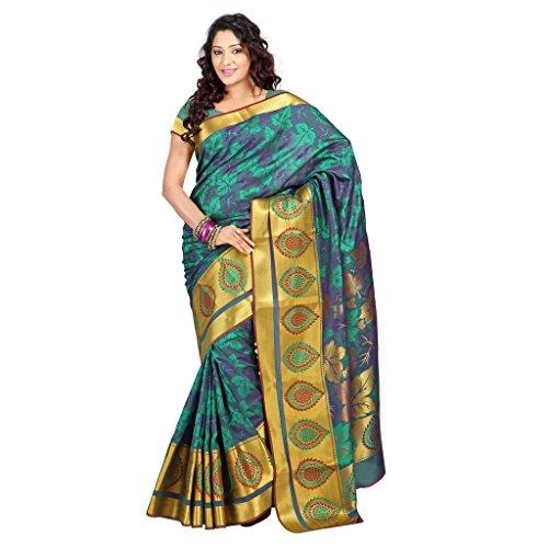Janasya Women's Multicolor Big Border Art Silk Saree (JNE09175-Multi-SR-JP7103PGV)  available at amazon for Rs.1124