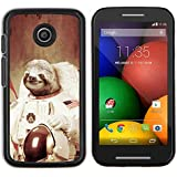 Plastic Shell Protective Case Cover || Motorola Moto E ( 1st Generation ) || Moon Space Travel Art Tree Sloth Animal Cosmos @XPTECH