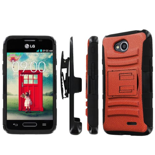 NakedShield LG Optimus L90 NakedShield LG Optimus L70 (Basketball Texture) Combat Tough Holster Kickstand Armor Phone Case