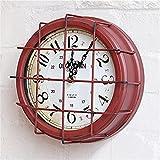 1LoftPueblo americano retro tan viejo creativa hierro lámparas de estilo industrial caja reloj de pared redondo/Reloj de pared/Gráfico de pared/