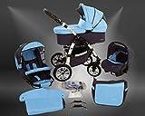 Milk Rock Baby Macano S Kinderwagen Winter-Set (Winterfußsack, Autositz & Adapter, Regenschutz, Moskitonetz, Schwenkräder) MO68 White/Sky Blue Grey