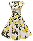Homrain Damen 50er Vintage Retro Kleid Party Kurzarm Rockabilly Cocktail Abendkleider White Lemon S