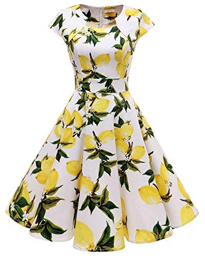 HomRain Damen 50er Vintage Retro Kleid Party Kurzarm Rockabilly Cocktail Abendkleider White Lemon XL